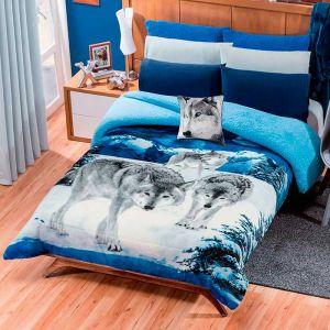 Cobertor Borrega Lobos Dos Vistas Azul Med Matrimonial/Individual